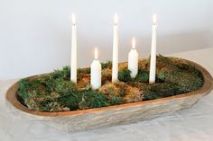 Bring the lush green hues of spring to your table with a gorgeous moss centerpiece that looks as if it were made from a foraging adventure in the forest! Moss Centerpieces, Dining Room Table Centerpieces, Christmas Centerpieces, Christmas Decorations, Moss Centerpiece Wedding, Holiday Decorating, Wooden Dough Bowl, Wood Bowls, Moss Decor