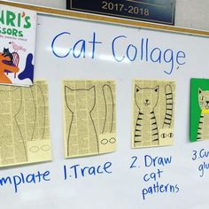 Newsprint Cat Collage Instructions