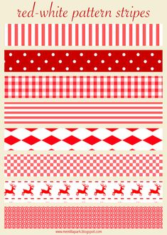 FREE printable red and white Christmas scrapbooking stripes - trim parcels, envelopes, wraps and cookie bags with them!