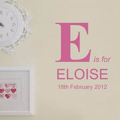 Personalised Birth And Name Wall Sticker