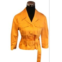 🎉HP🎉INC CROPPED SLEEVE JACKET Beautiful orange waist length trench coat in like new condition, cropped sleeves. HIC-1 INC International Concepts Jackets & Coats Trench Coats