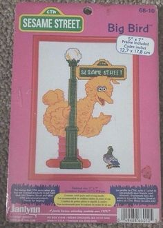 BIG BIRD Sesame Street Cross Stitch Kit Frame Nursery Toddler Child Arts Crafts  #Janlynn #Frame