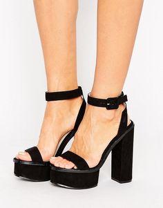 415fa0ebfa8 Public Desire Valencia Black Platform Heeled Sandals