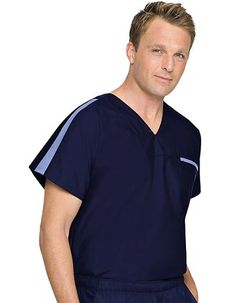 "This V-neck pullover offers contrast ""racing"" stripes across the shoulders and front pocket with a clean solid back and full back yoke. Be the first to cross the fashion finish line in this sporty top. Scrubs Uniform, Men In Uniform, Medical Uniforms, Work Uniforms, Medical Scrubs, Nursing Scrubs, Landau Uniforms, Mens Tunic, Landau Scrubs"