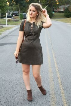 Suede Lace-Up Dress