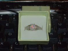 LOOK!!!! A BEAUTIFUL STERLING SILVER WHITE FIRE OPAL AND AAAAA CZ ENGAGEMENT RING SIZE 8