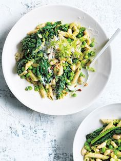 Made with wholewheat penne and a pea and mint pesto, this creamy pasta is feel-good comfort food that you'll love.