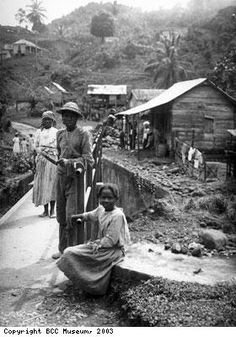 Maroons in New Nanny Town, Jamaica: The word maroon means escaped slave and comes from a Spanish word meaning mountaineers. The slaves escaped from their plantations to the mountains and formed independent communities of free people.