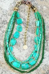 Necklace | Amazonite | Mint | Teal | Gold | Multi-Strand | XO Gallery | XO Gallery