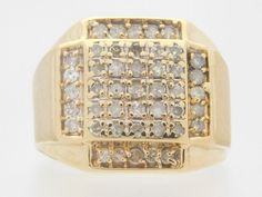 1.00 CARAT T.W. MAN'S ROUND CUT DIAMOND CLUSTER RING 10K YELLOW GOLD #39019 #Cluster