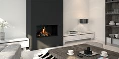 matte black fireplace statement wall - 23 Modern Built-In Fireplaces To Bring A Cozy Touch Fireplace Feature Wall, Fireplace Tv Wall, Fireplace Built Ins, Black Fireplace, Bedroom Fireplace, Fireplace Surrounds, Fireplace Design, Fireplace Ideas, Home Living Room