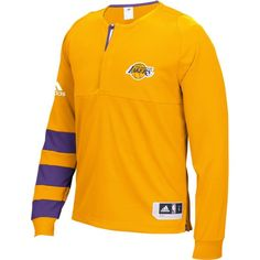 db4906a9db9a adidas Men s Los Angeles Lakers On-Court Gold Long Sleeve Shooting Shirt
