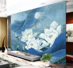 Tapisserie asiatique, image issue d'une peinture à l'encre de Chine, aspect ancien. Titre : Les lotus blancs avec l'oiseau dans la nuit.