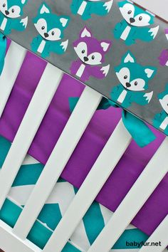 Foxy in Purple, Bumperless Crib Bedding, Baby Bedding, Rail Guards Fox Woodland Forest Turquoise Teal Purple Gray Gender Neutral Nursery Set - http://babyfur.net/foxy-in-purple-bumperless-crib-bedding-baby-bedding-rail-guards-fox-woodland-forest-turquoise-teal-purple-gray-gender-neutral-nursery-set.html