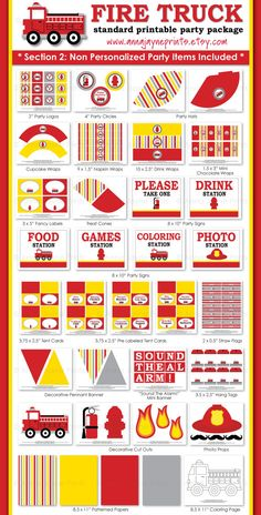 Fire Truck Party Package - signs