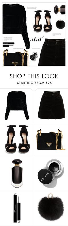 """""""All Velvet All Black"""" by arwitaa ❤ liked on Polyvore featuring Boohoo, BLANKNYC, Alexander McQueen, Prada, Victoria's Secret, Christian Dior and Yves Salomon"""