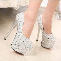 Wholesale 2014 diamantes de la moda para mujer de la princesa bien con tacones brillantes zapatos impermeables zapatos de la boda zapatos del partido de los altos talones, Free shipping, $50.27/Pieza | DHgate Mobile