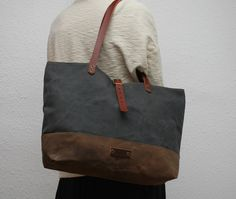 waxed canvas  bag  gunmetal gray colorbrown by NATURALHERITAGEBAGS