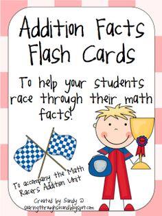 Soaring Through Second Grade: Math Facts addition facts flash cards Addition Flashcards, Math Addition, Addition Facts, Teaching Math, Maths, Teaching Ideas, Teaching Textbooks, Kindergarten Math, Math Lessons