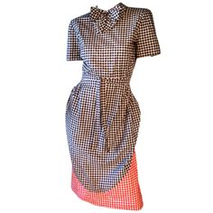 Adrian 'Wizard Of Oz' Gingham Bustle Dress 1944 | From a collection of rare vintage day dresses at http://www.1stdibs.com/fashion/clothing/day-dresses/