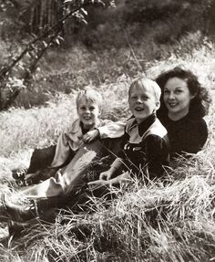 Susan Hayward with her twin sons, Timothy and Gregory