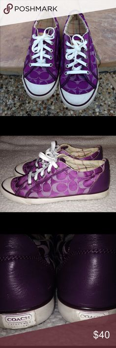 Purple Coach Tennis Shoes-Barrett I LOVE PURPLEthese shoes are in GUC. They have some wear on the inside from normal use. The material in right top of heel has a small hole from wear. The rubber on the coach tag on back of shoe is torn some. Other than that they are great shoes with a lot of life left in them. The material on outside is excellent. I put new shoe strings in them. Coach Shoes Sneakers