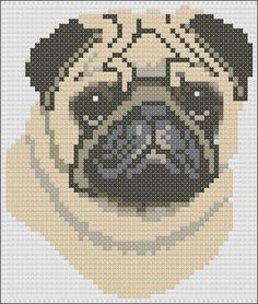 This pattern is of a fawn Pug head and uses only 8 colours. The pattern size is 53 x 61 stitches. Each chart is printed over four pages and the colours are shown both as colour blocks and symbols for ease of use. This chart can be used for counted cross stitch as well as a knitting pattern.    This chart is sold by download only. Once payment is received you will receive the pattern as an email attachment.