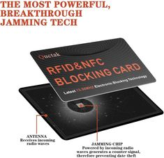 The RFID Blocking Card looks like a regular debit card but has a built-in noise transmitter that interferes with the transfer of information between the . Internet Marketing, Online Marketing, Radio Wave, Security Companies, Mobile Covers, Smart Technologies, Mobile App, Your Cards, I Am Awesome