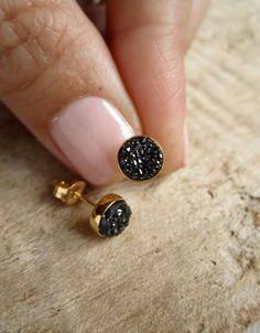 Tiny Black Druzy Earrings Drusy Quartz Studs by julianneblumlo, $55.00