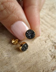 Tiny Black Druzy Earrings Drusy Quartz Studs by julianneblumlo, $55.00