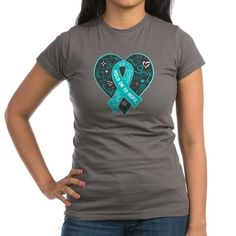 PCOS Hold On to Hope shirts, apparel and gifts to bring advocacy for this cause featuring a decorative heart and ribbon. COPYRIGHT Gifts4Awareness.com