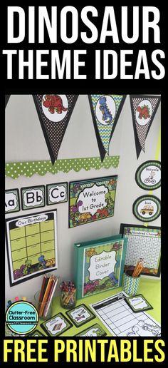 Dinosaur Classroom, Dinosaur Theme Preschool, Dinosaur Activities, Free Preschool, Dinosaur Bulletin Boards, Dinosaur Party, Elementary Classroom Themes, Science Classroom Decorations, Preschool Classroom