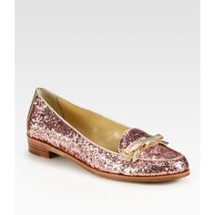 Kate Spade New York Cora Glitter-Coated Patent Leather And Metallic Leather Loafers found on Polyvore