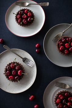 Chocolate Coconut Cherry Tarts / Flourishing Foodie
