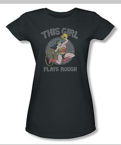 Charcoal Wonder Woman 'Plays Rough' Fitted Tee - Women -----I freakinnn need this shirt!!!