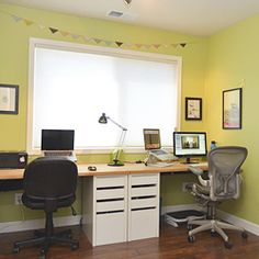 a built in office desk with supplies from Ikea.