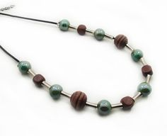 Brown Wooden Necklace Green Acrylic Beaded by alittlebeadofme
