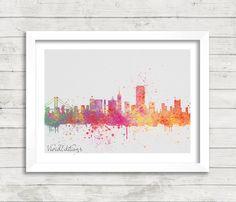 San Francisco Skyline Watercolor Print, Bay Area Bridge Cityscape Watercolor Art Print, Minimalist Home Decor, Not Framed, Buy 2 Get 1 Free!