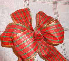 Red Plaid gift bow, wreath bow package decoration, buffet table decor wired ribbon