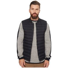 Scotch & Soda Lightweight Down Bodywarmer with Bomber Collar... (9.525 RUB) ❤ liked on Polyvore featuring men's fashion, men's clothing, men's outerwear and mens vest outerwear
