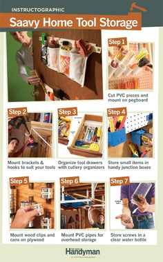 DIY Tutorial: Saavy Home Tool Storage. Here are some clever ideas for storing tools, hardware and other workshop items.