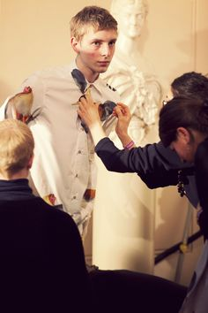 Backstage at Agi & Sam AW12, London Fashion Week. Thomas Penfound, D1 Models by Cecilie Harris.