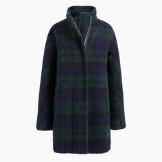 Shop J.Crew Factory for the New bouclé city coat in black watch plaid for Women. Find the best selection of Women Outerwear available in-stores and online. Plaid Coat, Wool Coat, Discount Womens Clothing, Skirts With Boots, Outerwear Women, Sweater Jacket, Everyday Fashion, J Crew, Clothes For Women