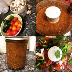 Using garden fresh ingredients. It's pretty easy if you let the food processor do all the work! Basic recipe let's you adjust to your ingredients and desired flavor. Basic Recipe, Fresh Salsa, Taco Tuesday, My Recipes, Food Processor Recipes, Veggies, Mexican, Canning, Ethnic Recipes