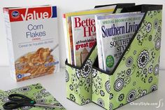 Upcycled cereal box organizer for coupons and weekly ads; make shorter to fit kitchen shelves.