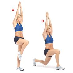 Stand with your feet shoulder-width apart and your arms at your sides. Lift your right knee until your thigh is parallel to the floor and raise your arms overhead, palms facing in (a). Hold for 5 seconds, then slowly drop your right foot into a front lunge (b). Bring your left leg forward and return to standing. That's 1 rep. Do 10 to 12 on each leg, alternating sides.