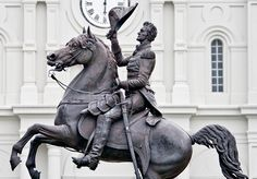 General Jackson statue on Jackson Square -one of three - others are in Nashville and Washington D.-this one is to mark his defeat of the British in New Orleans in 1814 New Orleans Statues, Joan D Arc, Jefferson Parish, American History, American Presidents, Equestrian Statue, New Orleans French Quarter, Jackson Square, Andrew Jackson