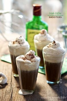 Irish Coffee Shooters (Hot or Iced). What could be better than coffee, whipped cream & whiskey??!!