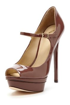 Chocolate Peep Toe Pumps / Brian Atwood