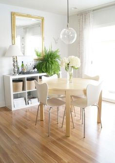 simple, clean, open dining room